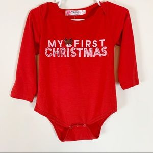Boutique NWT 90 Onesie Christmas Reindeer Red Baby